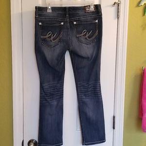 Express denim low rise jeans.